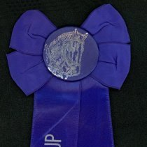 Image of Oak Lawn Round-Up Ribbon, 1957 - This item is a blue ribbon given out during the 1957 Oak Lawn Round-Up.  There is an image of a horse in the ribbon's center and text on the lower half.