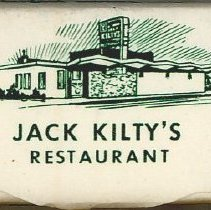Image of Jack Kilty's Sugar Cube  - This item is a sugar cube from Jack Kilty's Restaurant located at 4545 West 95th Street in Oak Lawn.  The packaging material is white with an image of the restaurant featured.