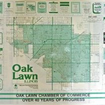 "Image of 1987 Map of Oak Lawn - Map of Oak Lawn provided by the Oak Lawn Chamber of Commerce. It promotes various businesses and has the tag line ""Oak Lawn Chamber of Commerce, Over 40 Years of Progress"". The item is laminated."
