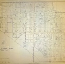 Image of 1966 Map of Oak Lawn - Map of Oak Lawn prepared by the Office of the Village Engineer in May of 1966. This item has several large tears in it.