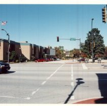 Image of 95th Street Looking North Near Cook Avenue - Photograph of 95th Street looking north near Cook Avenue.  The Oak Lawn Public Library is visible.