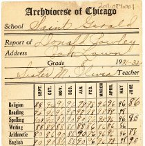 Image of 1931 - 1932 St. Gerald School Report Card
