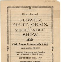 Image of Program for the First Annual Flower, Fruit, Grain and Vegetable Show