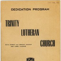 Image of Program for the Trinity Evangelical Lutheran Church Dedication