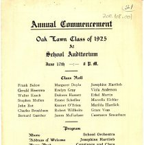 Image of Cook School Graduation Program, 1925