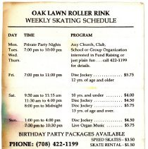 Image of Oak Lawn Roller Rink Schedule, 1994