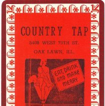 Image of Country Tap Playing Cards - This item is a deck of playing cards given out by the Country Tap located at 5408 West 79th Street in Oak Lawn.  The cards are red in color and contained in a blue box.