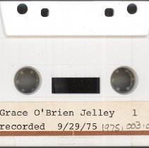 Image of Jelley, Grace (O'Brien) - Oral History Interview - This item is an oral history interview with Grace (O'Brien) Jelley.  She is the sister of Fred O'Brien and daughter of Frank O'Brien, both who served in early law enforcement. It is approximately forty-five minutes long and covers her life and experiences in the Village.