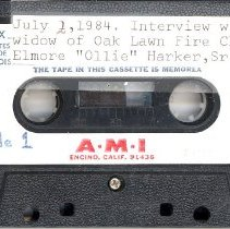 """Image of Harker, Dorothy (Holtz) - Oral History Interview - This item is an oral history interview with Dorothy (Holtz) Harker, the widow of Elmore """"Ollie"""" Harker, Oak Lawn's first Fire Chief.  The interview is approximately thirty minutes in length, and covers her experiences in the village."""