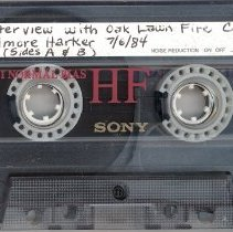 Image of Harker, Elmore Jr. - Oral History Interview - This item is an oral history interview with Elmore Harker Jr., a former Oak Lawn Fire Chief. The interview is approximately one hour and thirty minutes in length and covers his experiences working in the Village, including those connected to 1967 Tornado.