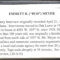 Image of Meyer, Emmett R., - Oral History Interview