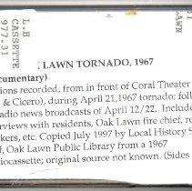 Image of Kehe, Robert - Audio Recording of the 1967 Oak Lawn Tornado