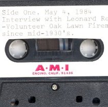 Image of Reno, Leonard - Oral History Interview - This item is an oral history interview with Leonard Reno. The interview covers his life and experiences in the Village focusing on his involvement in the Oak Lawn Volunteer Fire Department. It is approximately twenty-eight minutes in length and the sound quality is very poor.
