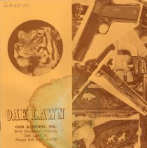 Image of Oak Lawn Gun and Sports Club Catalog - This item is a catalog from the Oak Lawn Gun and Sports Club located at 9618 Southwest Highway.  The cover is orange with images of firearms and a tiger.