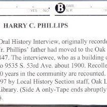 Image of Phillips, Harry C. - Oral History Interview