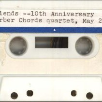 Image of Barber Chords Quartet - This item is a recording of the Barber Chords Quartet singing at the Friends of the Oak Lawn Library tenth anniversary celebration.