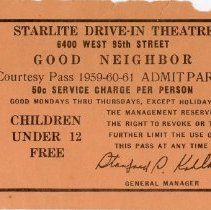 Image of Starlite Drive-In Theatre Courtesy Pass - This item is a courtesy pass for the Starlite Drive-In Movie Theatre located at 6400 West 95th Street.  The ticket is peach in color and was given to a M.A. Dwyer of Evergreen Park.  It also contains information such as when the pass could be used and what charges there would be.