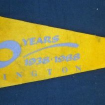 Image of Covington School Pennant - This item is a pennant from Covington School celebrating it's 50th anniversary.  It is yellow and purple in color with numerous marks on its surface.