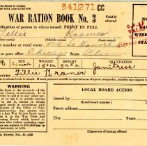 Image of War Ration Book No. 3 - This item is a war ration book issued during the Second World War. It was owned by Lillie Kramer, and still contains most of the stamps inside.