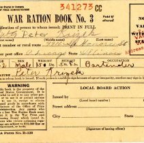 Image of War Ration Book No. 3 - This item is a war ration book issued during the Second World War. It was owned by Peter Krizek, and still contains most of the stamps inside.