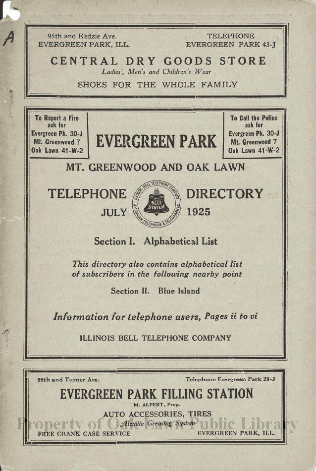 1925 Evergreen Park