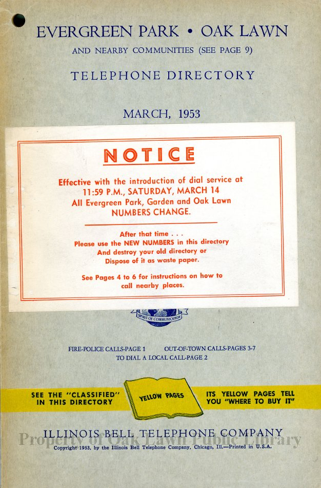 1953 Evergreen Park Oak Lawn Telephone Directory This Item Is A
