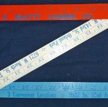 Image of I.N.R. Beatty Lumber Co. Ruler - This item is a ruler from the I.N.R. Beatty Lumber Company located at 9537 S. 52nd Avenue in Oak Lawn.  It is collapsable into three separate pieces and is red, white, and blue in color.  The lumber company closed its Oak Lawn location in 2010.