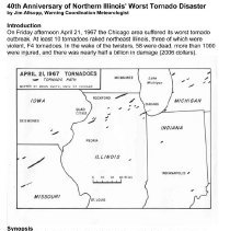 Image of 40th Anniversary 1967 Tornado Report - This item is a report issued by Jim Allsopp, Warning Coordination Meteorologist, covering the events of the 1967 Tornado.  It contains a synopsis, maps and other information.
