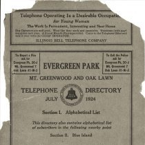 Image of 1924, Evergreen Park - Oak Lawn Telephone Directory - This item is a telephone directory for Evergreen Park and Oak Lawn printed in July of 1924.  The cover is grey in color with black lettering and images.