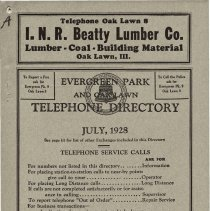 Image of 1928, Evergreen Park - Oak Lawn Telephone Directory - This item is a telephone directory for Evergreen Park, Blue Island and Oak Lawn printed in July of 1928.  The cover is grey in color with black lettering and images.