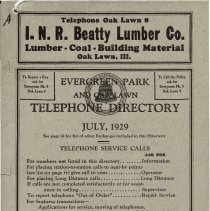 Image of 1929, Evergreen Park - Oak Lawn Telephone Directory - This item is a telephone directory for Evergreen Park, Blue Island and Oak Lawn printed in July of 1929.  The cover is grey in color with black lettering and images.