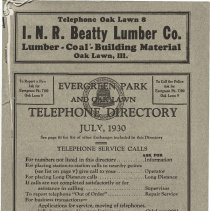 Image of 1930, Evergreen Park - Oak Lawn Telephone Directory - This item is a telephone directory for Evergreen Park, Blue Island and Oak Lawn printed in July of 1930.  The cover is grey in color with black lettering and images.