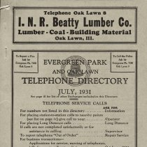 Image of 1931, Evergreen Park - Oak Lawn Telephone Directory - This item is a telephone directory for Evergreen Park, Blue Island and Oak Lawn printed in July of 1931.  The cover is grey in color with black lettering and images.