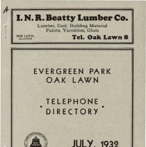 Image of 1932, Evergreen Park - Oak Lawn Telephone Directory - This item is a telephone directory for Evergreen Park, Blue Island and Oak Lawn printed in July of 1932.  The cover is grey in color with black lettering and images.