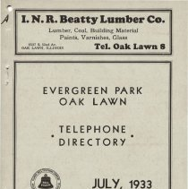 Image of 1933, Evergreen Park - Oak Lawn Telephone Directory - This item is a telephone directory for Evergreen Park, Blue Island and Oak Lawn printed in July of 1933.  The cover is grey in color with black lettering and images.