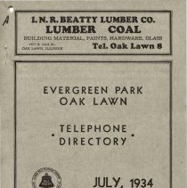 Image of 1934, Evergreen Park - Oak Lawn Telephone Directory - This item is a telephone directory for Evergreen Park, Blue Island and Oak Lawn printed in July of 1934.  The cover is grey in color with black lettering and images.