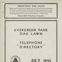 Image of 1935, Evergreen Park - Oak Lawn Telephone Directory - This item is a telephone directory for Evergreen Park, Blue Island and Oak Lawn printed in July of 1935.  The cover is grey in color with black lettering and images.