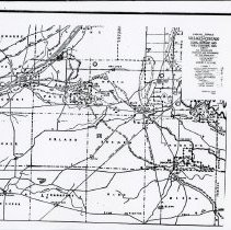 Image of 1804 Native American Map of Cook, Dupage and Will County - This item is an 1804 Native American map of Cook, Dupage, and Will County published around 1901. It shows the locations of Native trails and villages throughout the townships. Oak lawn is located just above the center, and has no Native settlements located in its vicinity.