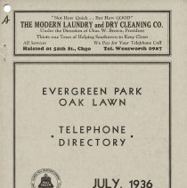 Image of 1936, Evergreen Park - Oak Lawn Telephone Directory - This item is a telephone directory for Evergreen Park and Oak Lawn printed in July of 1936.  The cover is grey in color with black lettering and images.
