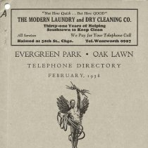 Image of 1938, Evergreen Park - Oak Lawn Telephone Directory - This item is a telephone directory for Evergreen Park and Oak Lawn printed in February of 1938.  The cover is grey in color with black lettering and images.