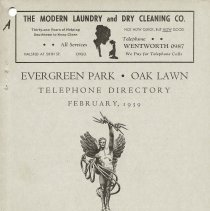 Image of 1939, Evergreen Park - Oak Lawn Telephone Directory - This item is a telephone directory for Evergreen Park and Oak Lawn printed in February of 1939.  The cover is grey in color with black lettering and images.