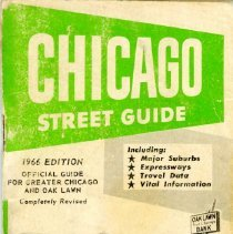 Image of Oak Lawn Trust and Savings Street Guide, 1966 - This item is a 1966 Oak Lawn Trust and Savings Bank Street Guide.  It contains a listing of streets for the city of Chicago and many of the surrounding suburbs, along with other maps and travel information.  The cover is green and white in color with an image of the bank.  The bank merged with the First National Bank of Evergreen Park in 1992 and no longer exists today.