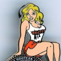 Image of Hooters Anniversary Button - This item is a button celebrating the Oak Lawn Hooters Restaurant's 20th anniversary.  It has the image of a woman dressed in Hooters attire.