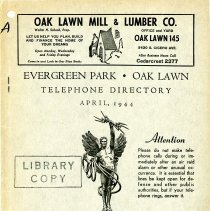 Image of 1944, Evergreen Park - Oak Lawn Telephone Directory - This item is a telephone directory for Evergreen Park and Oak Lawn printed in April of 1944.  The cover is grey in color with black lettering and images.