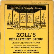 Image of Zoll's Department Store Stamp Book - This item is a stamp book distributed by Zoll's Department Store located at 5351 West 95th Street.  For every ten cents you spent a stamp was given, which could be traded in for products once the book was full.