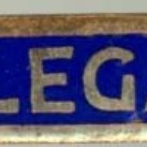 Image of Kiwanis Delegate Pin, 1924 - This item is a 1924 Kiwanis delegate pin used by Raymond S Blunt.  The convention took place in Denver, CO, and the item is blue and gold in color.