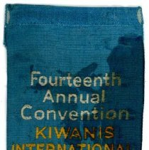 Image of Kiwanis Delegate Ribbon, 1930 - This item is a 1930 Kiwanis delegate ribbon used by Oak Lawn resident Raymond S Blunt.  The convention took place in Atlantic City, and the item is blue in color, featuring an image of the city.