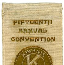 Image of Kiwanis Delegate Ribbon, 1931 - This item is a 1931 Kiwanis delegate ribbon used by Oak Lawn resident Raymond S Blunt.  The convention took place in Miami, and the item is tan in color with gold lettering.