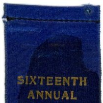 Image of Kiwanis Delegate Ribbon, 1932 - This item is a 1932 Kiwanis delegate ribbon used by Oak Lawn resident Raymond S Blunt.  The convention took place in Detroit, and the item is blue in color with gold lettering.