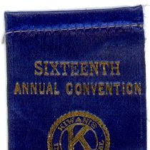 Image of Kiwanis Delegate Ribbon, 1933 - This item is a 1933 Kiwanis delegate ribbon used by Oak Lawn resident Raymond S Blunt.  The convention took place in Aurora, IL, and the item is blue in color with gold lettering.